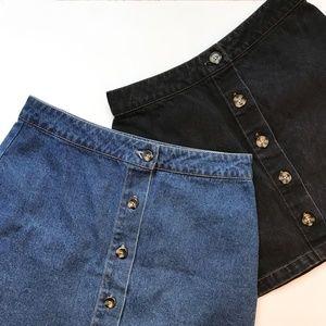 Forever21 High Waist Blue & Black Jean Mini Skirts
